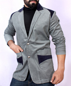 Grey Contrast Tipping Pocket Corduroy Blazer ZD-3861