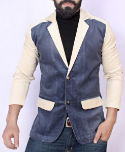Creamy Blue Tipping Pocket Corduroy Blazer ZD-3862