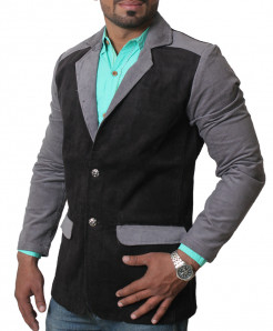 Lilac Black Tipping Pocket Corduroy Blazer ZD-3865