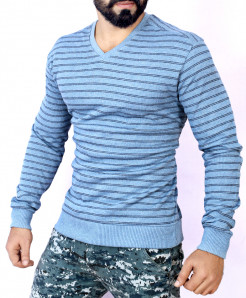 Sky Blue Striper Sweat Shirt MWS-044