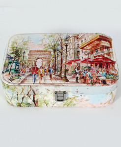 Cafe Painting Printed Stylish Makeup Box GL-1237