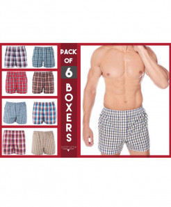 Pack Of 6 Checkered Boxers For Men SIK-008