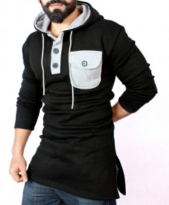 Black Henley Pocket Kurta Style Fleece Hoodie FS-2554