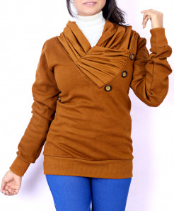 Mustard Platted Button Neck Ladies Fleece Pullover FS-2555