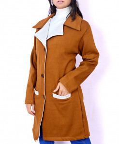 Mustard Grey Bon Pocket Fleece Ladies Long Coat FS-2558