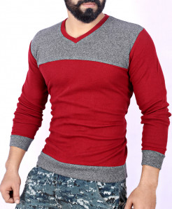 Two Tone Stylish Charcoal Maroon Sweat Shirt MWS-046