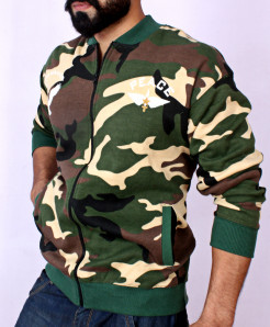 Peace Camouflage Fleece Stylish Bomber Jacket QZS-085