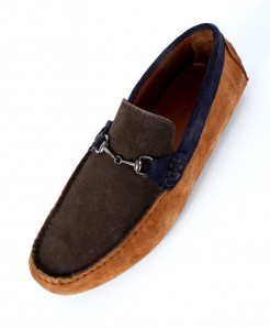 Mustard Brown Suede Leather Studded Loafers SC-1031