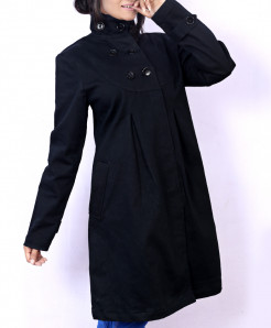 Black D Neck Button Drill Cotton Ladies Long Coat FS-2562