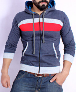 Navy Blue Panel Style Hoodie FSL-069