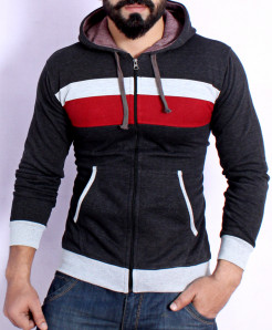 Charcoal Panel Style Hoodie FSL-071