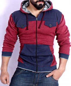 Maroon With Blue Fleece Stylish Hoodie FSL-073