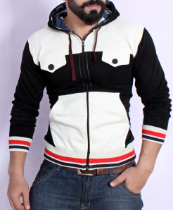 Grey With Black Fleece Stylish Hoodie FSL-074