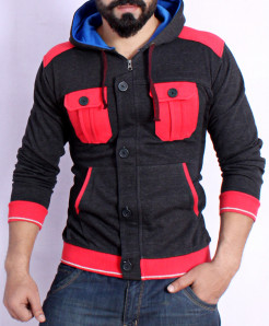 Charcoal Cardigan Style Hoodie FSL-076