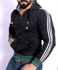 Black Striper Stylish Zipper Hoodie FSL-084