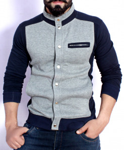 Grey Navy Blue Stand Collar England Style Fleece Jacket ABS-39