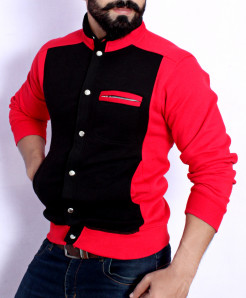 Black Red Stand Collar England Style Fleece Jacket ABS-40