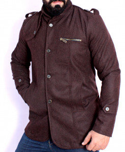 Choco Brown Stand Collar Stylish Tweed Blazer ABS-41