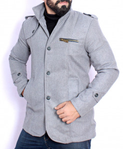 Steel Grey Stand Collar Stylish Tweed Blazer ABS-46
