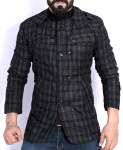 Black Checkered Stylish Tweed Blazer ABS-50
