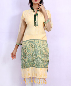 Cream Front Back Embossed Stylish Ladies Kurti ARB-3111