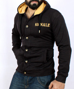 Black Fleece Cardigan Style Hoodie SF-020