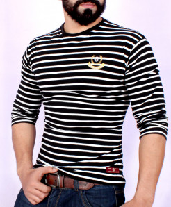 Black White Striper Crew Neck T-Shirt SF-04