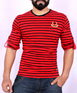 Red White Striper Crew Neck T-Shirt SF-05