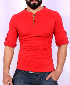 Red Henley Style T-Shirt SF-06