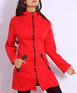 True Red Contrast Ziiper Ladies Fleece Coat FS-2569