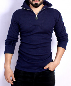 Navy Panel Mock Neck Zipper Sweat Shirt FS-2570