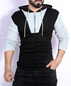 Black Grey Panel Zipper Hooded Sweat Shirt FS-2571