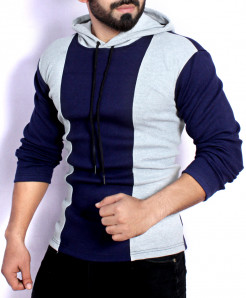 Navy Grey Contrast Panel Hooded Sweat Shirt FS-2572