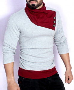 Grey Maroon Contrast Designer Mock Sweat Shirt FS-2573