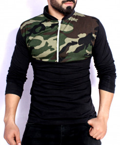 Black Camouflage Contrast Panel Zipper T-Shirt FS-2575