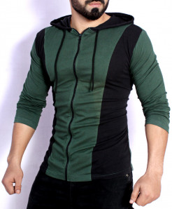 Black Green Contrast Zipper Pullover T-Shirt FS-2576
