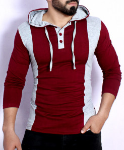 Maroon Grey Contrast Henley Pullover T-Shirt FS-2577