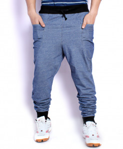Greyish Blue Denim Terry Baggy Tapered Style Trouser QZS-092