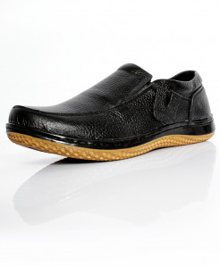 Black Leather Stylish Slip On Shoes NCP-015