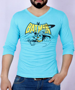 Turquoise Batman Logo Full Sleeve T-Shirt AG-17