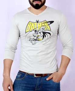 Beige Batman Logo Full Sleeve T-Shirt AG-18