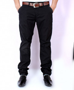 Black Casual Chino Cotton Pants SA-003