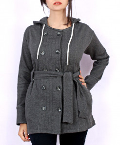 Charcoal Women Winter Fleece Coat MR-004