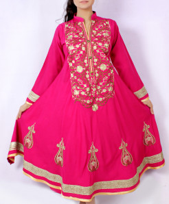 Dark Pink Embroidered Stylish Long Kurti KC-3560