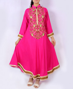 Dark Pink Front Back Embroidered Long Kurti KC-3562