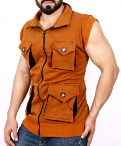 Brown 4 Cargo Pocket Style Sando Fleece Jacket FS-2581