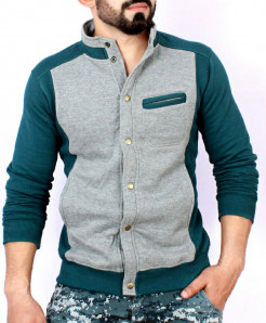Grey Green Stand Collar England Fleece Jacket ABS-55