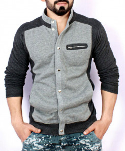 Grey Charcoal Stand Collar England Fleece Jacket ABS-56