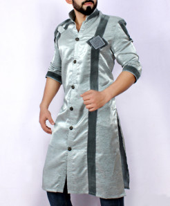 Grey Embroidered  Shairwani Style Kurta ARK-934