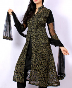 Black Net Embroidered Stylish Ladies Suit ARB-3123